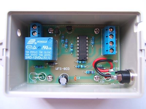 线路板上的接线端子接好,接上电源,电源指示灯点亮,同时继电器应吸合