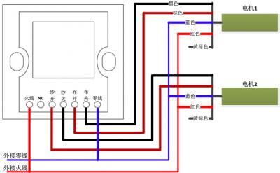 双轨窗帘面板和窗帘电机接线示意图